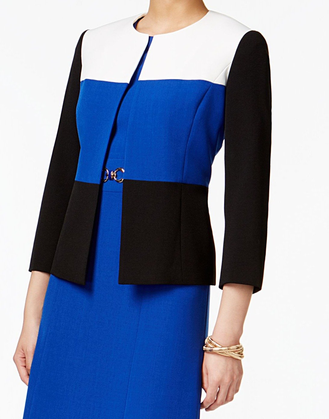Kasper Women's Petite Size Jewel Neck Stretch Crepe Tri Tone Flyaway Jacket, Cobalt Multi, 10P