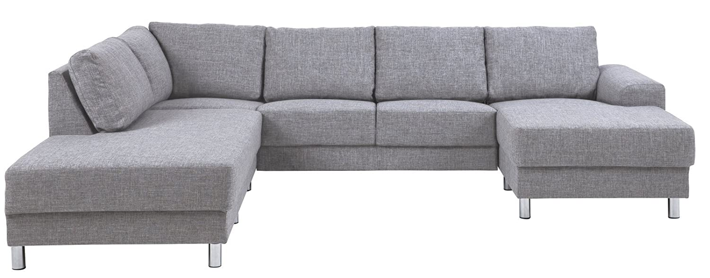 PKline Sofa mit Chaiselongue in hellgrau