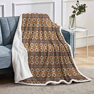 """YUAZHOQI Geometric Sherpa Throws Blanket Bohemian Rhombus Composition with Triangles Composition Mexican Folklore Home Decor Perfect for Couch Sofa Beds 51"""" x 71"""" Multicolor"""