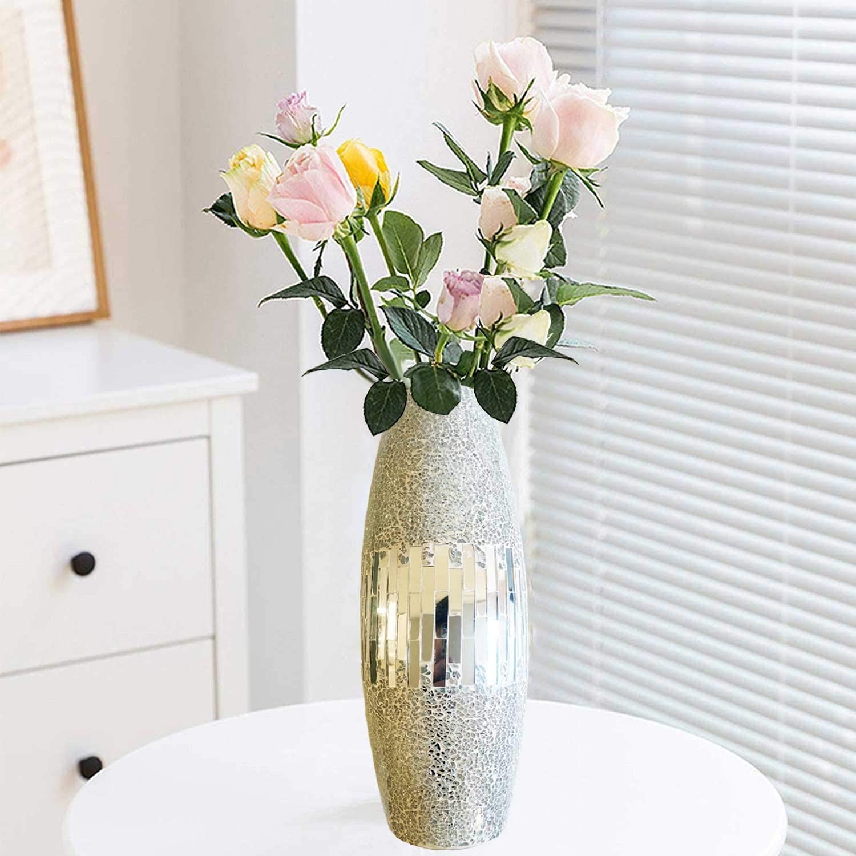 Decorative Shine Vase Stunning Handmade Mosaic Crackle Glass House Decor Table Centerpieces Modern Room Decoration (Round-Silver)