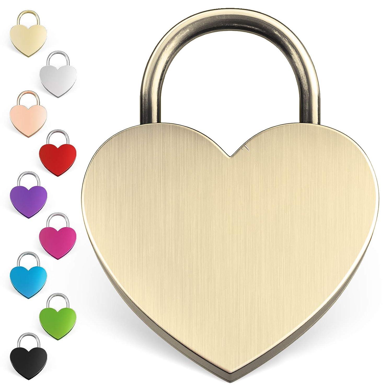 LIEBESSCHLOSS-FACTORY/™ Cadenas damour amoureux Or-Rose en forme de c/œur avec gravure personnalis/ée coffret cadeau GRATUIT et beaucoup plus/… concevez-vous maintenant!
