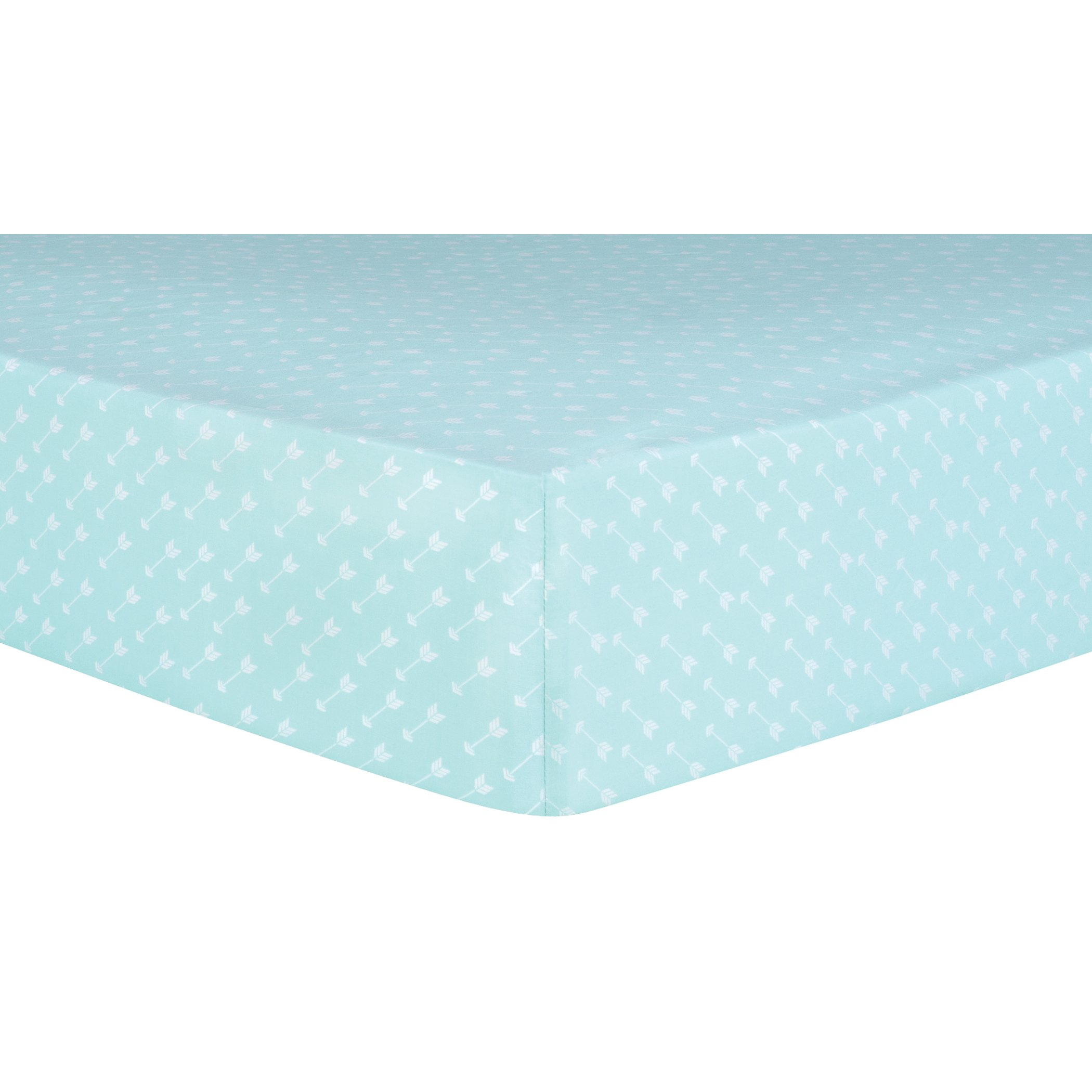 Trend Lab Arrows Fitted Crib Sheet, Teal, White