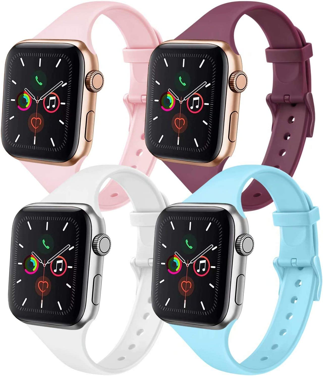 IEOVIEE [Pack 4] Silicone Slim Bands Compatible with Apple Watch bands 42mm 38mm 44mm 40mm Series 6 5 4 3 & SE, Narrow Replacement Wristbands (Light Blue/Wine Red/White/Pink, 38mm/40mm S/M)