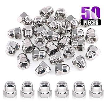 50Pcs M6 304 Stainless Steel Serrated Metric Acorn Cap Nuts Hex Dome Cap