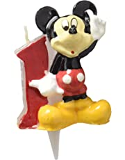 dekora 346141 Vela de Cumpleaños Mickey Mouse Numero 1, Cera, 6.5