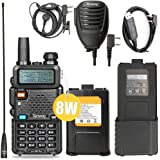 Ham Radio Walkie Talkie UV-5R Pro 8-Watt Dual Band Two Way Radio with one More 3800mAh Battery and Handheld Speaker Mic…