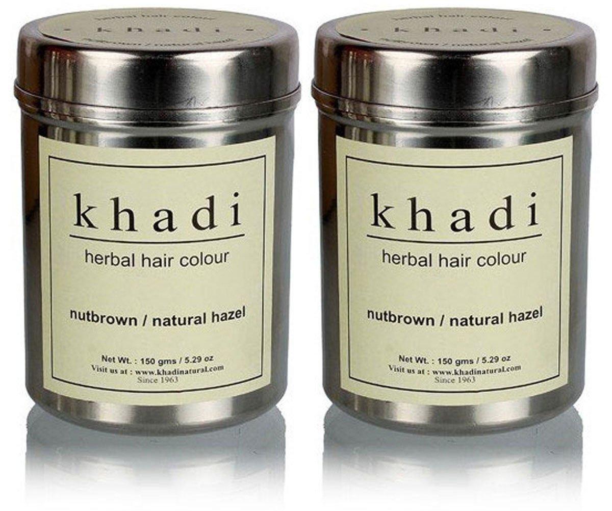 Khadi Herbal Nut Brown Henna- Natural Hazel - 150 ml (Pack of 2)