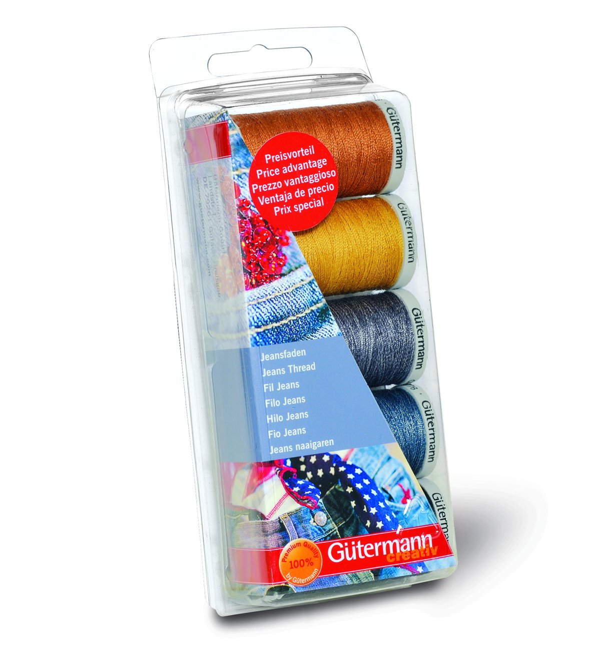 Gutermann Jeans - Juego de hilos de costura, 5 bobinas, tonos vaqueros product image