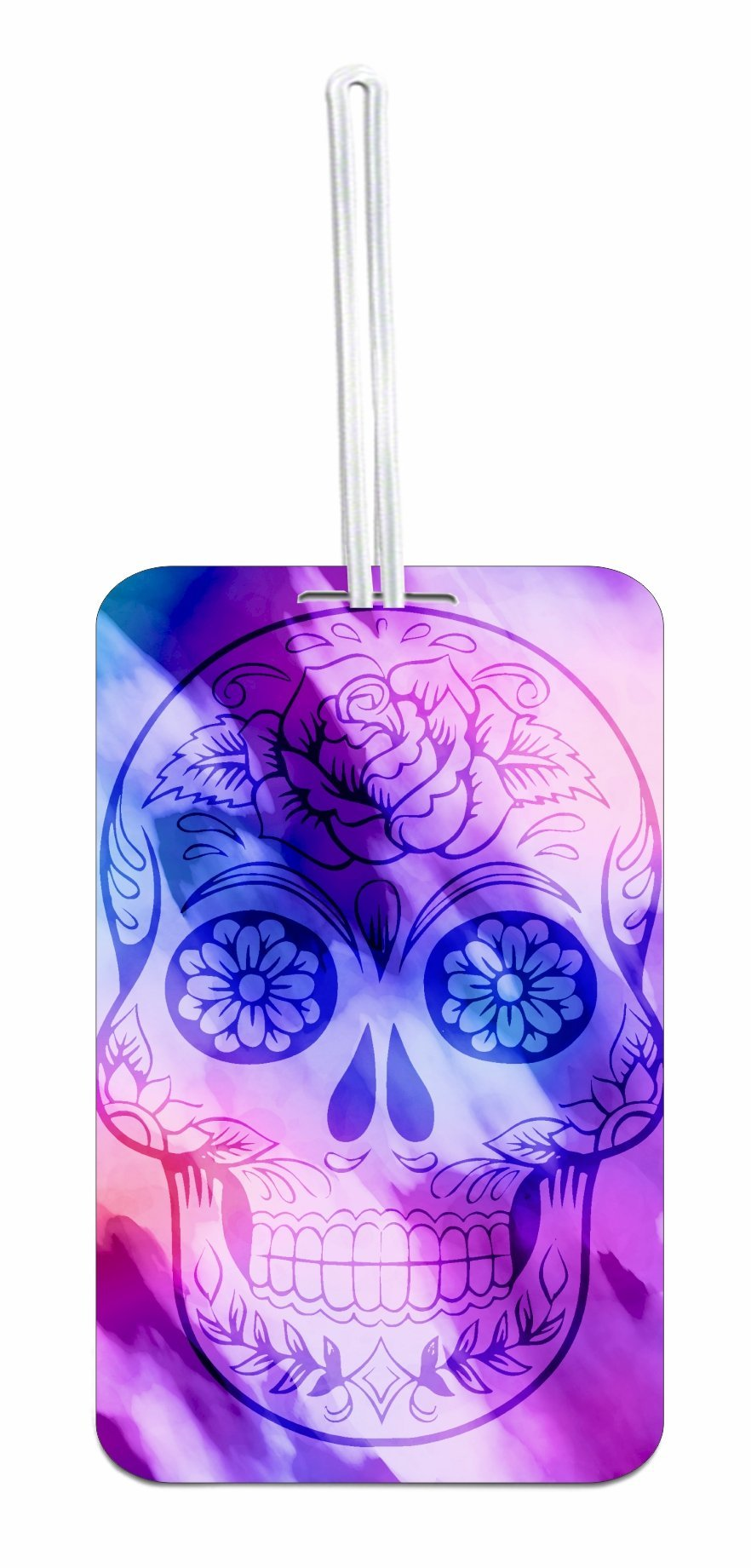 Watercolor Sugar Skull Design School Bag/Backpack ID Tag with Custom Reverse - Customize Yours Now