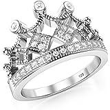 925 Sterling Silver Cubic Zirconia Princess Crown Tiara CZ Band Ring