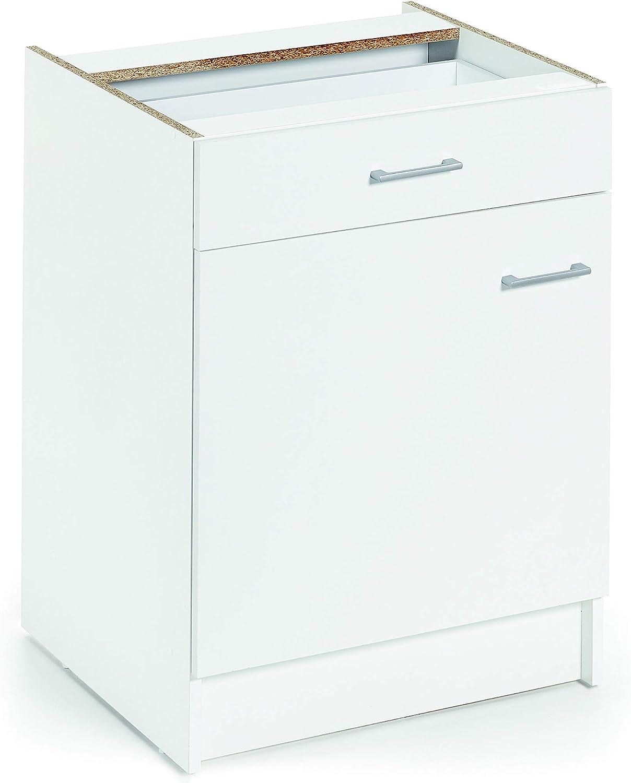 Armario bajo de cocina, blanco, de 60cm, con 1 puerta y 1 cajón ...