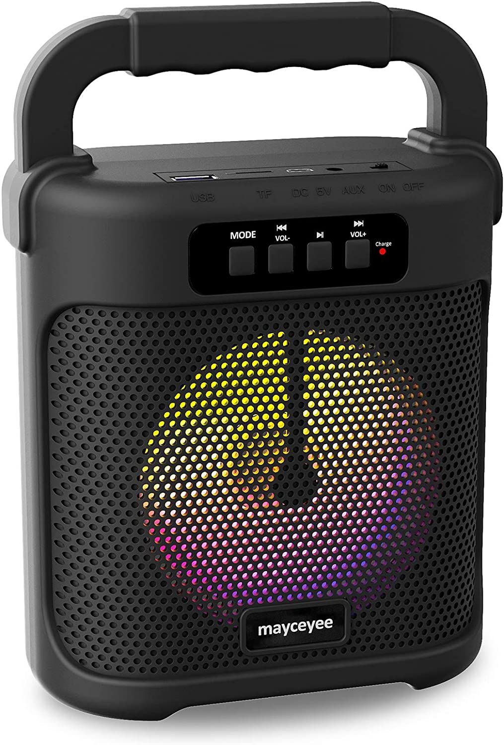 mayceyee Portable Bluetooth Speaker with FM Radio, Rechargeable Wireless Speaker with Line in, USB Disk and Micro SD Input, Stereo Speaker with Flashing LED Light for Indoor and Outdoor Party (Black)