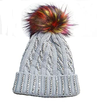 f664a90814b KGM Accessories Luxury Knitted cable Diamante bobble hat with Fuax fur pom  (Grey)