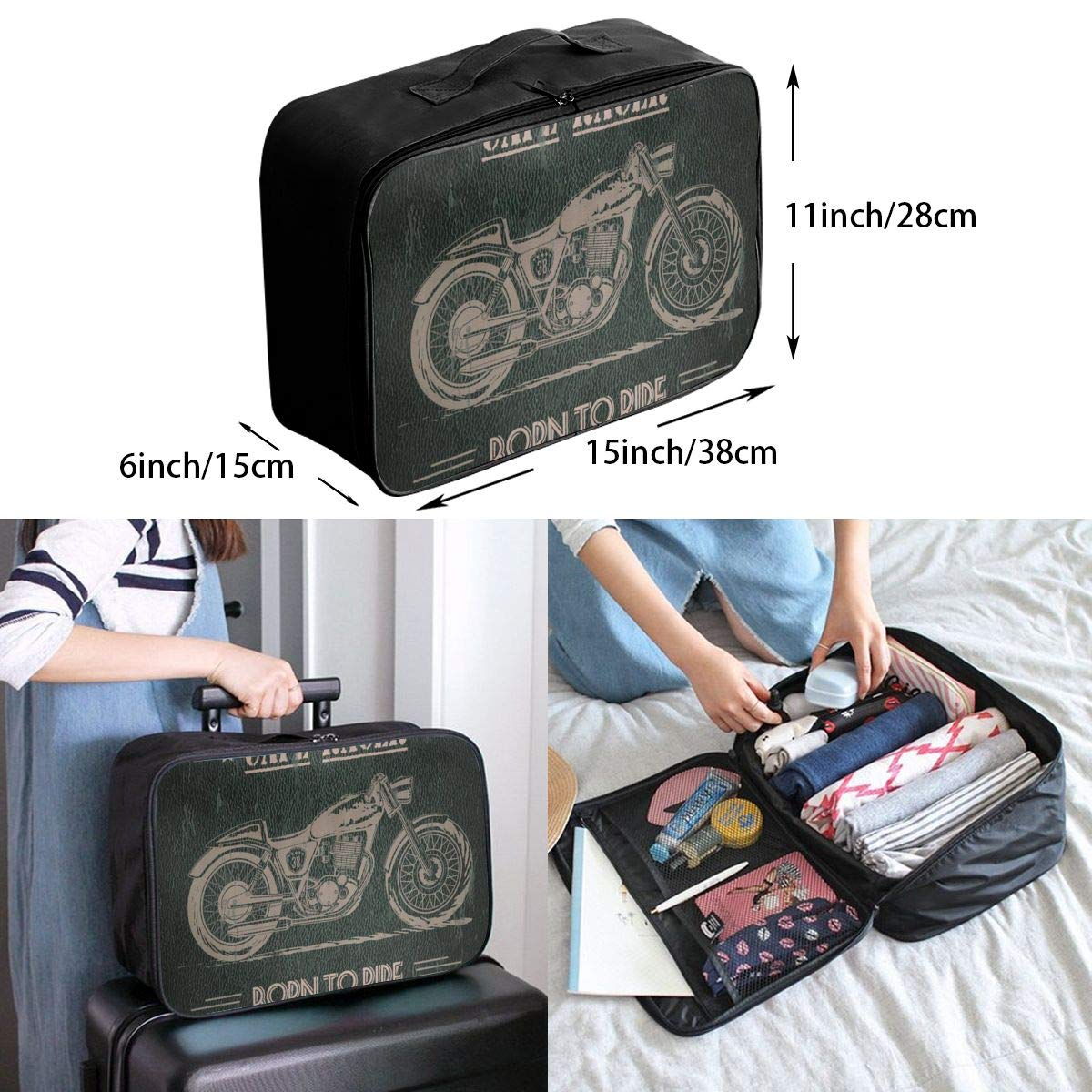 Motorcycle Cafe Racer Born To Die Travel Lightweight Waterproof Foldable Storage Carry Luggage Duffle Tote Bag Large Capacity In Trolley Handle Bags 6x11x15 Inch