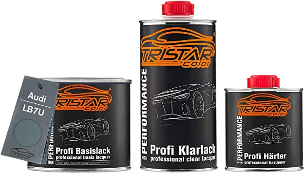 Tristarcolor Autolack Set Dose Spritzfertig Für Audi Lb7u Titangrau Metallic Titan Gray Metallic Basislack 2k Klarlack 1 25l Auto