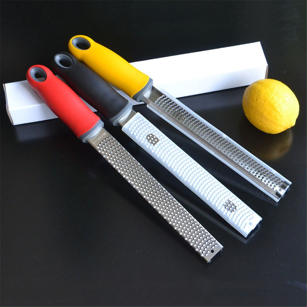 ZZM Stainless Steel Grater Long Ergonomic Handle with Rubber Base Ginger /& Potato Zester with Plastic Cover Black Zester Cheese Lemon