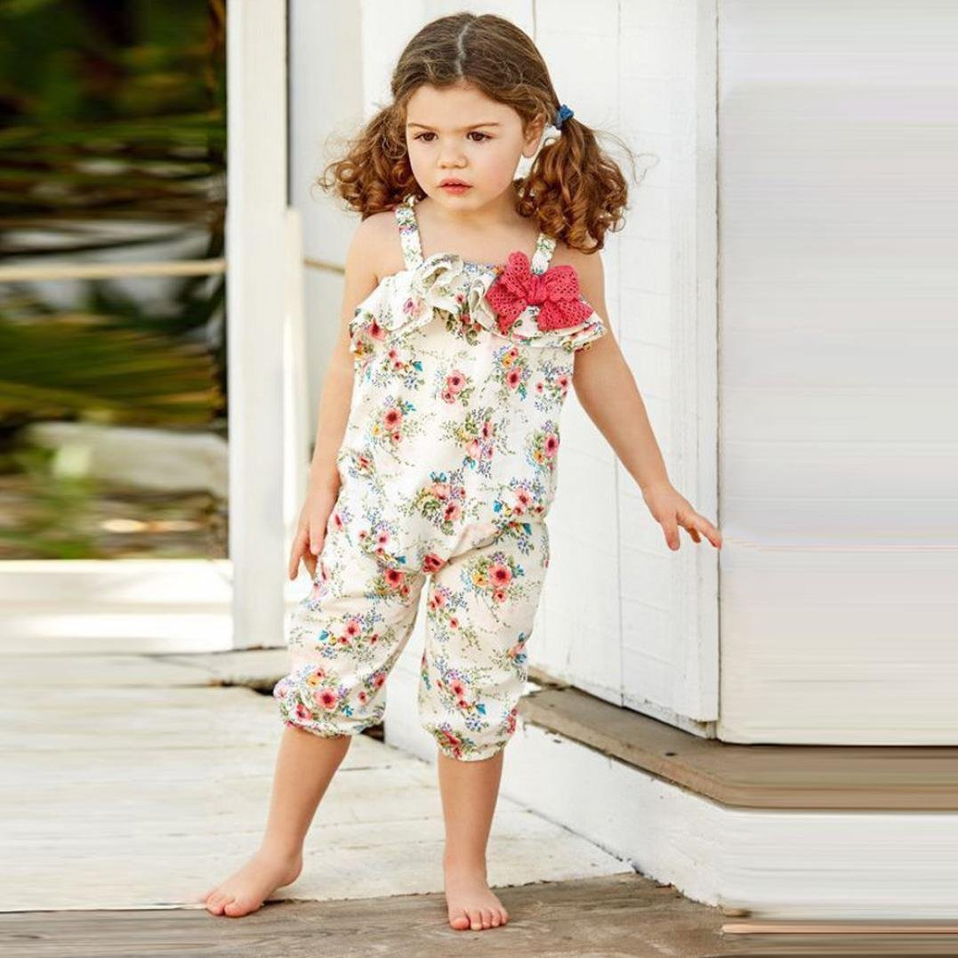Franterd Baby Girls Straps Rompers Kid Flower Print Jumpsuits Piece Pants Clothing