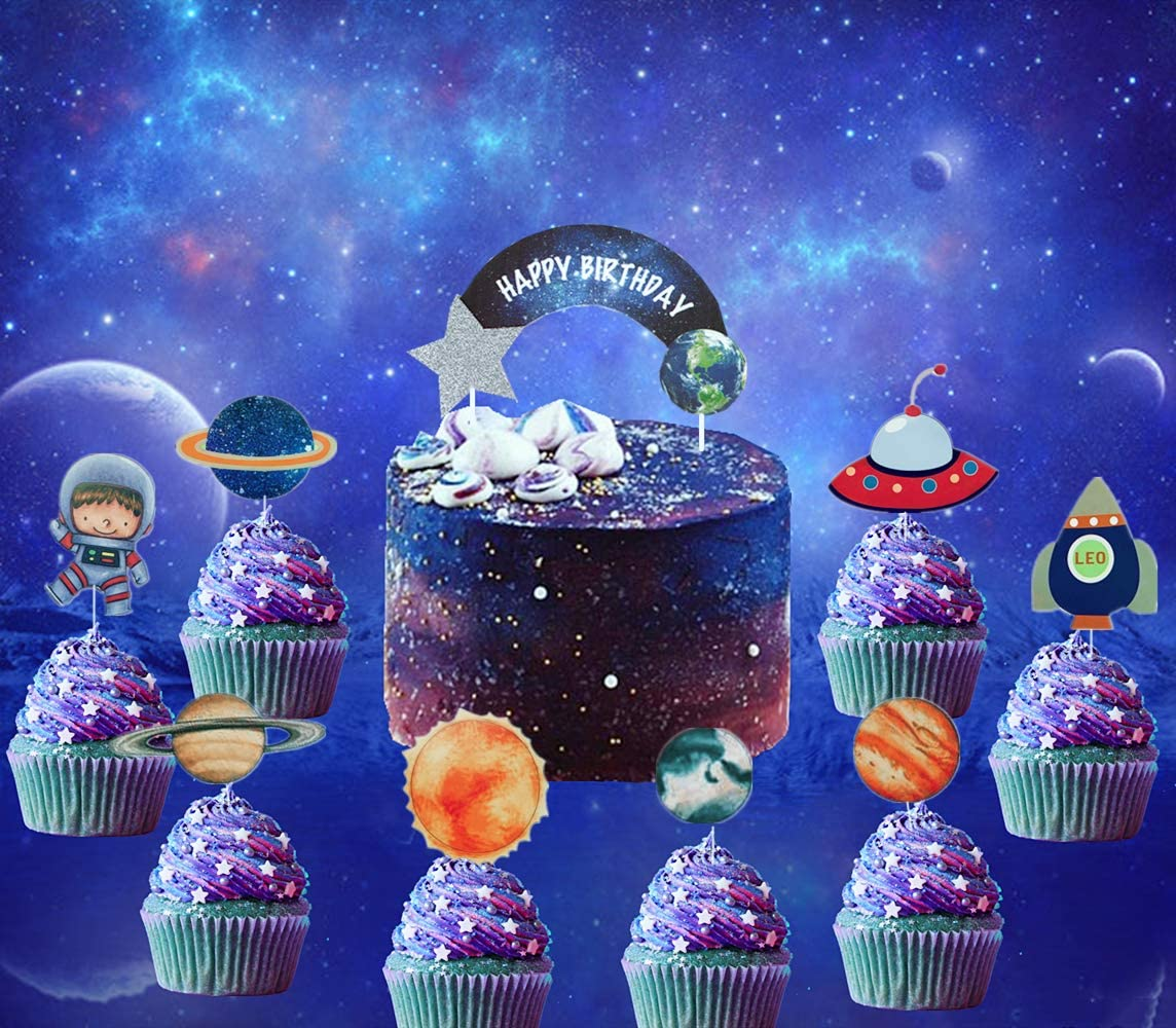 Pleasing 27 Pcs Jevenis Solar System Birthday Cake Topper Space Cupcake Funny Birthday Cards Online Alyptdamsfinfo