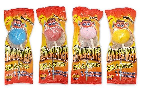 27709db22f Zed Candy  Monster Jawbreaker on a Stick - 18 Box  Amazon.co.uk  Grocery