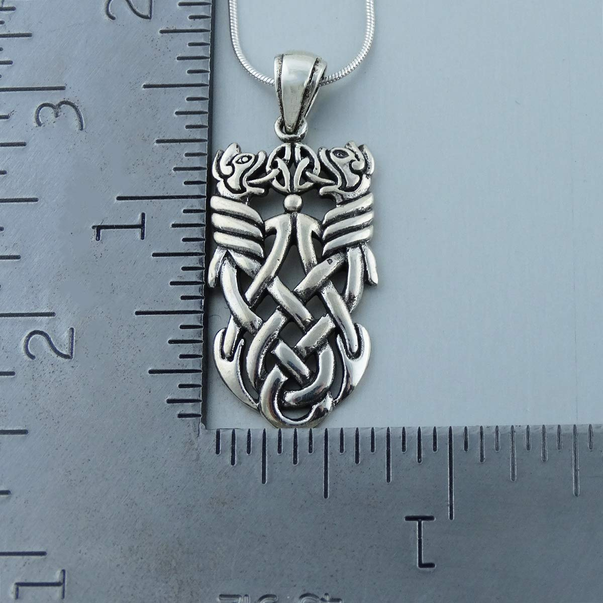 FashionJunkie4Life Sterling Silver Celtic Knot Double Dragons Necklace with 18 Snake Chain