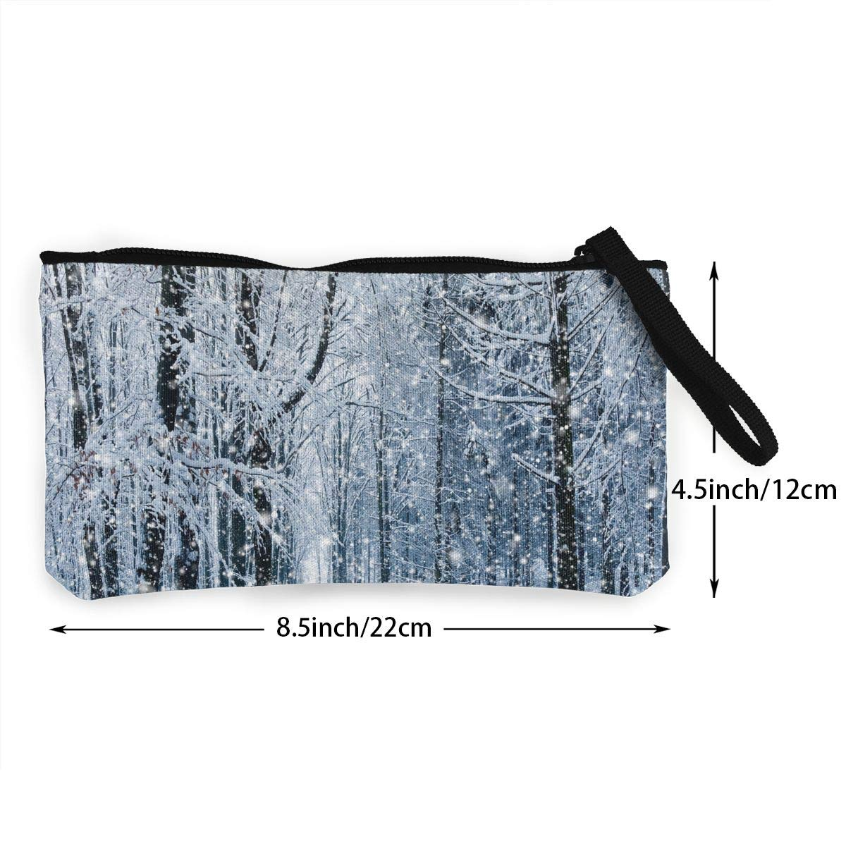 Maple Memories Winter Forest Portable Canvas Coin Purse Change Purse Pouch Mini Wallet Gifts For Women Girls