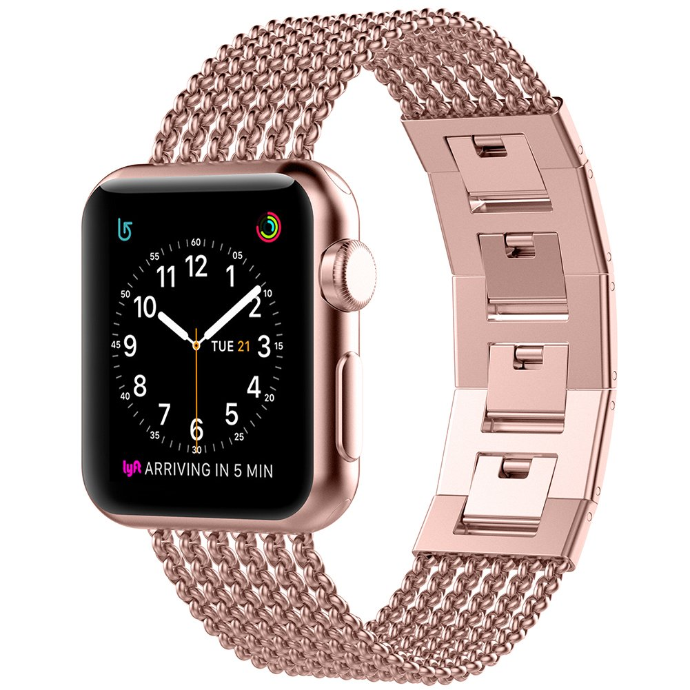 Glebo Compatible for Apple Watch Band 38mm 40mm Rose Gold, Adjustable Stainless Steel Metal Bracelet Band Replacement Accessories for Apple iWatch Band 38mm Series 3 Series 2 Series 1, 40mm Series 4 by Glebo