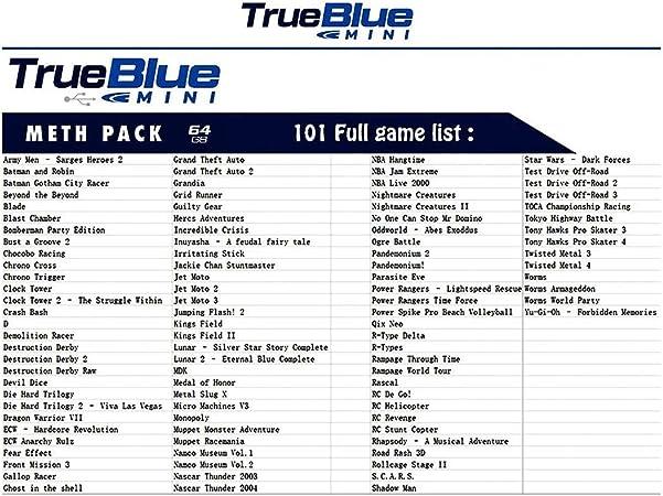 Consolas True Blue Mini-Meth Pack 58/101 Juegos 2-Players (32/64 GB) Plug and Play Plug-in para PlayStation Classic Balight: Amazon.es: Coche y moto