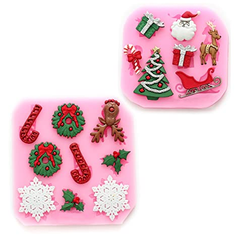 2pcs Molde de Silicona para fondant con Forma de dibujos Navidad #1