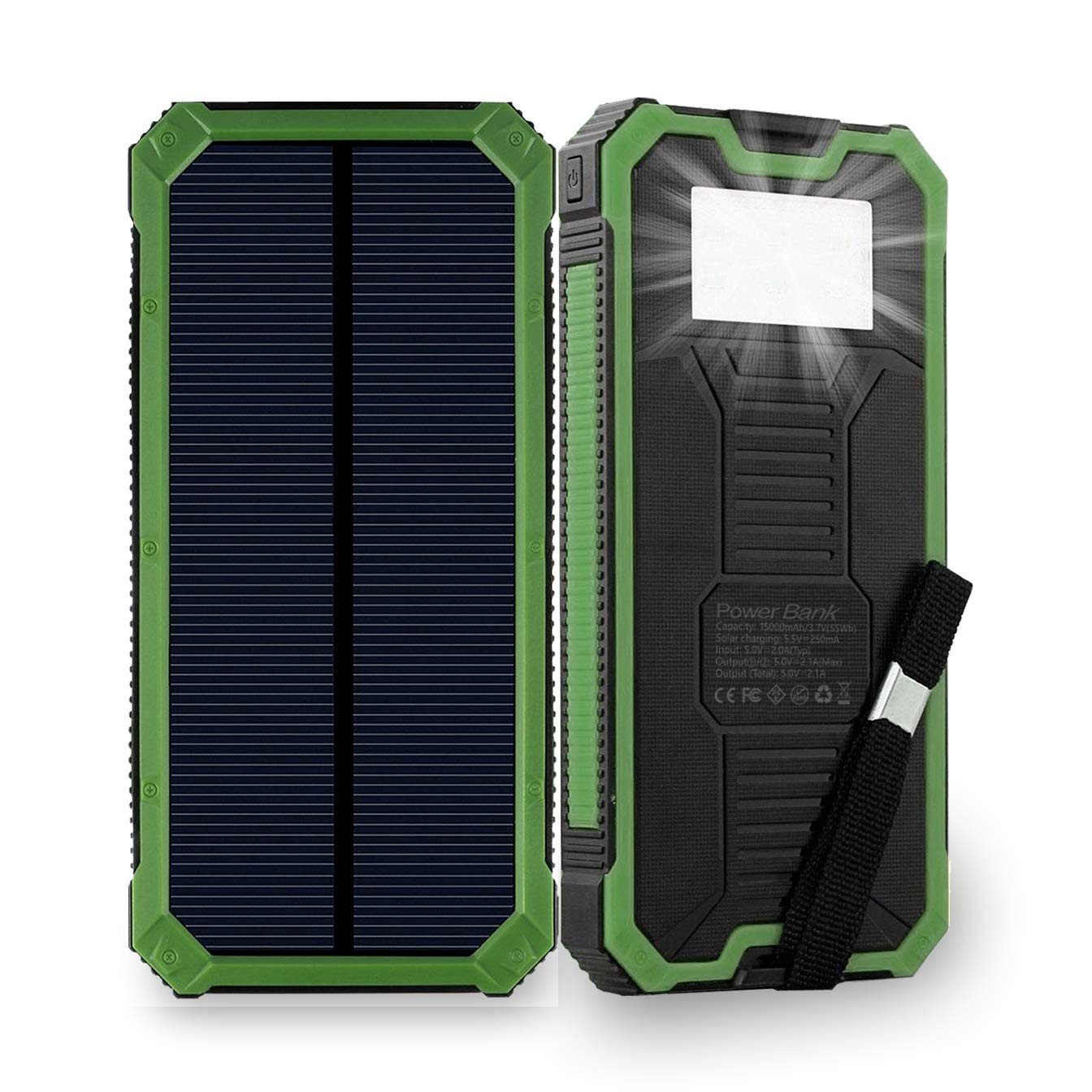 Solar Charger, Friengood 15000mAh Portable Solar Power Bank with Dual USB Ports, Solar External Battery Pack Phone Charger with 6 LED Flashlight Light for iPhone, iPad, Samsung and More (Green)