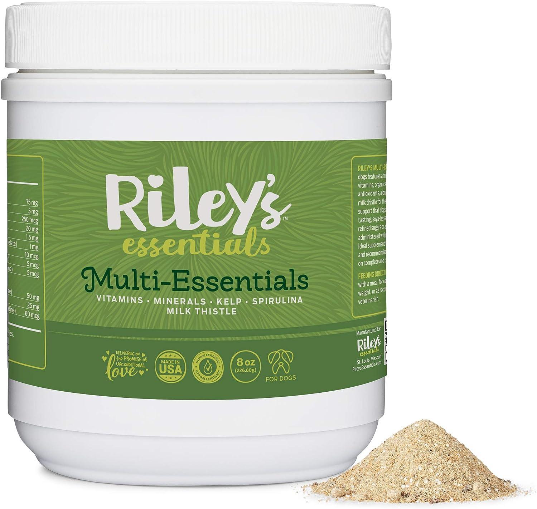 Riley's Multi-Essentials Multivitamin for Dogs - Vitamins, Minerals, Spirulina, Kelp, and Milk Thistle for Nutritional Support - Puppy and Senior Dog Vitamins - 8oz Powder