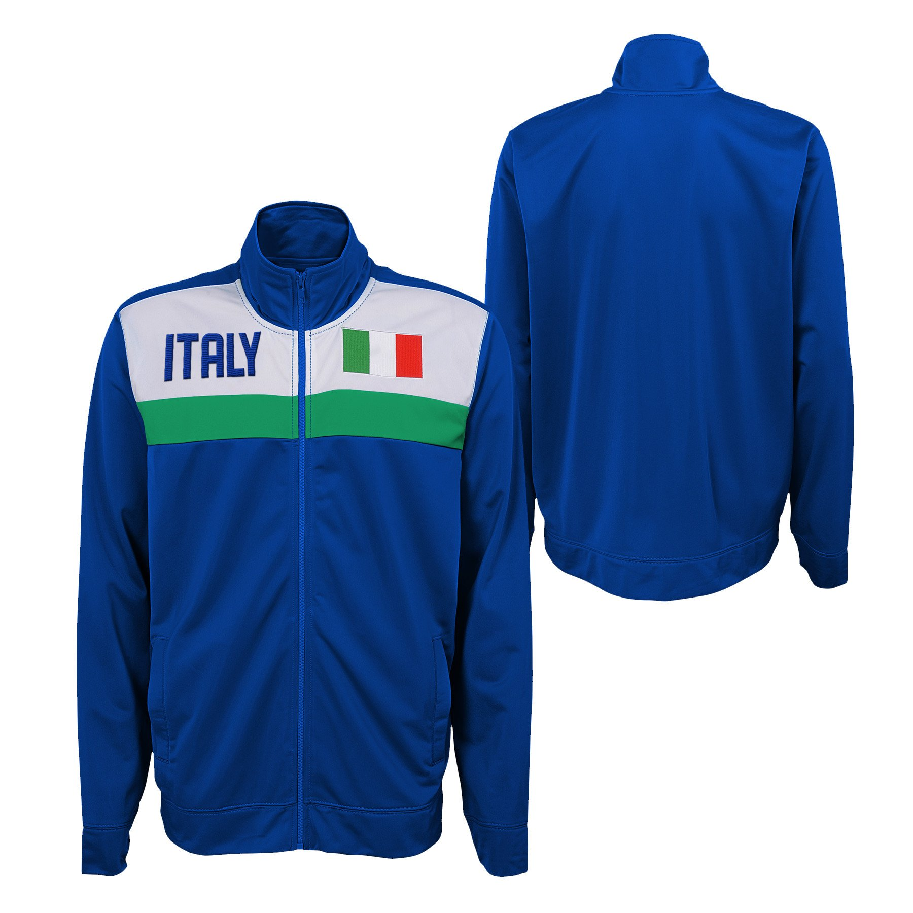 Outerstuff Youth International Soccer Italy Track Jacket Football Italia Embroidered Zip UP - M (10/12)