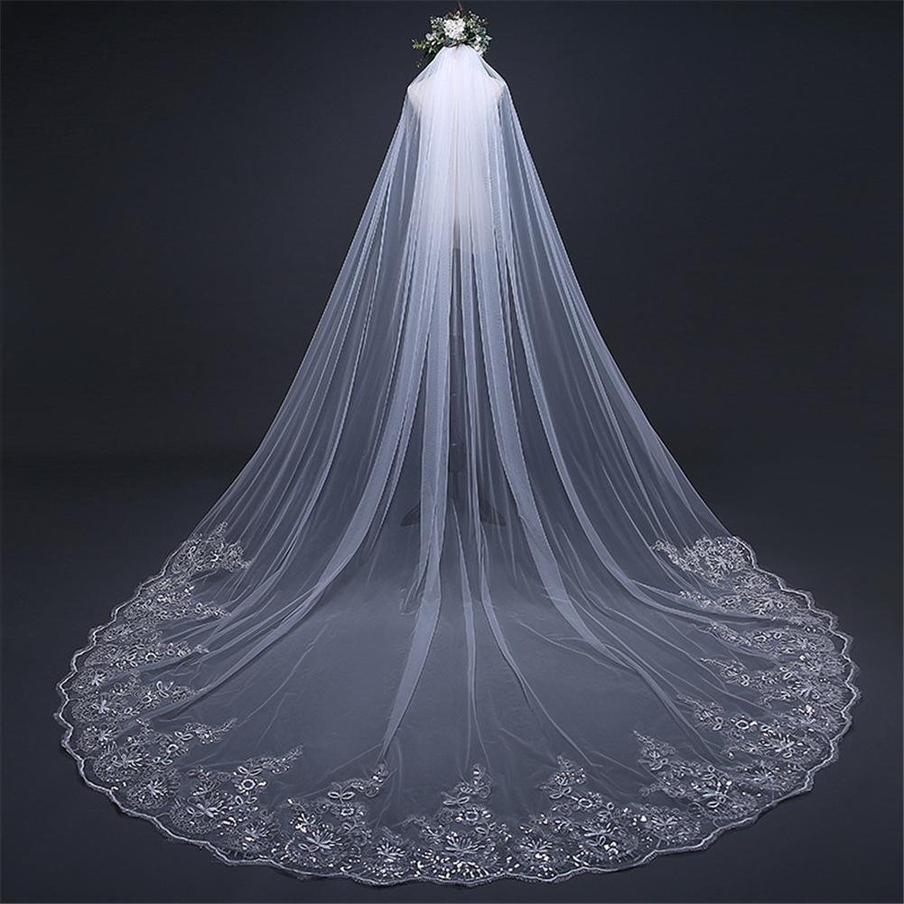 Brautschleier Einfach Braut Schleier Lange Weiß Tüll Hochzeit Schleier Billig Eine Schicht Schneiden Rand Hochzeit Zubehör wexe.com