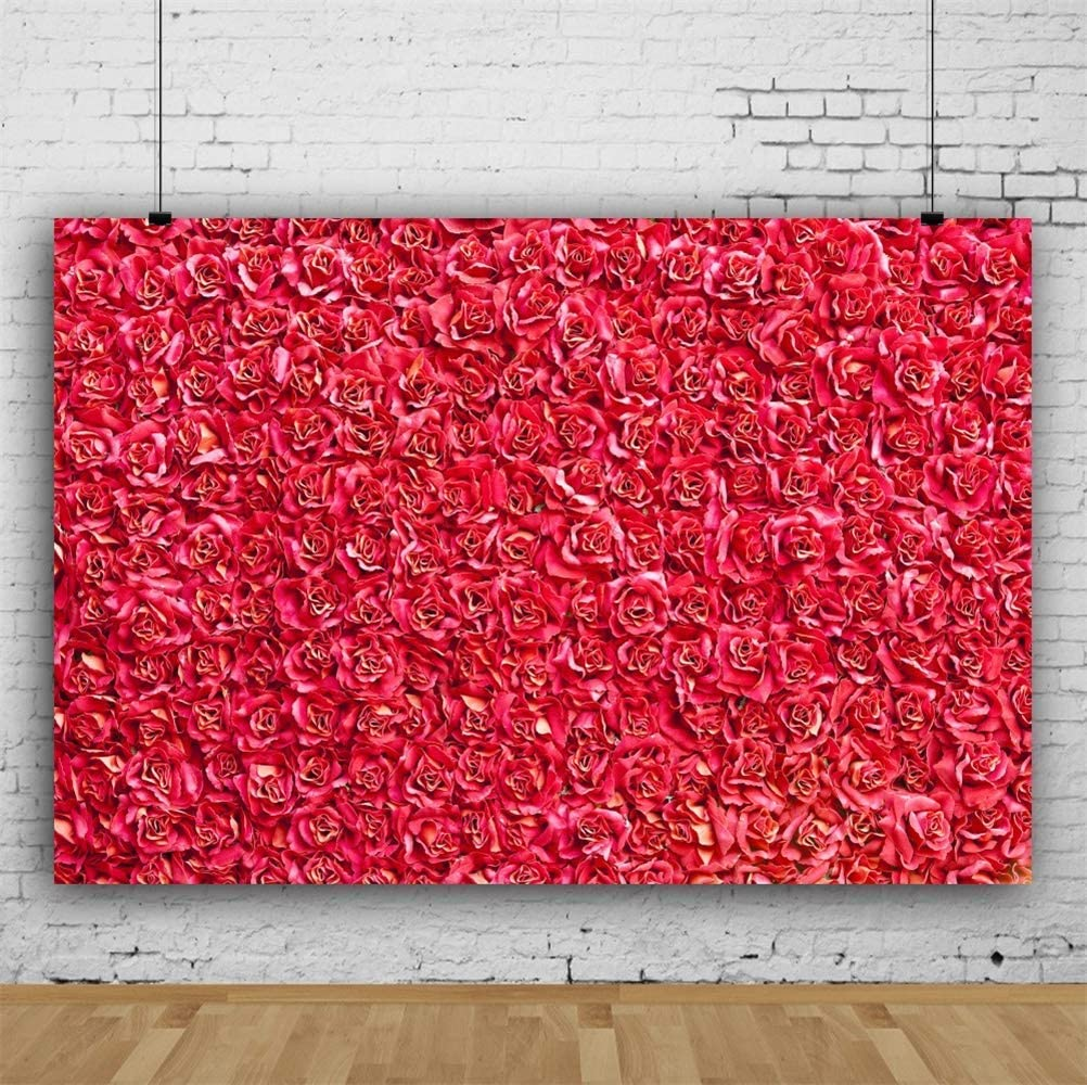 10x7ft Full Frame Red Rose Flowers Wall Vinyl Photography Background Romantic Floral Wedding Stage Backdrop Child Adult Birthday Banner Personal Portrait Shoot Indoor Decors Wallpaper Studio