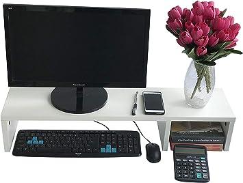 EVST - Soporte de madera para ordenador portátil TV (80 cm), color blanco: Amazon.es: Electrónica