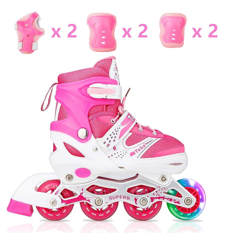 Tuko Kids Adjustable Inline Skates for Girls Rollers Adjust Skates Blades Illuminating Wheel Patines para Niños with Protective Pads (Big Kid 2M/3M/4M) by Tuko