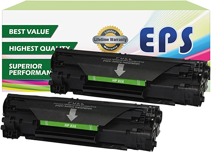 2 Pack - EPS Compatible Replacement for HP 83X CF283X High Yield Toner Cartridges