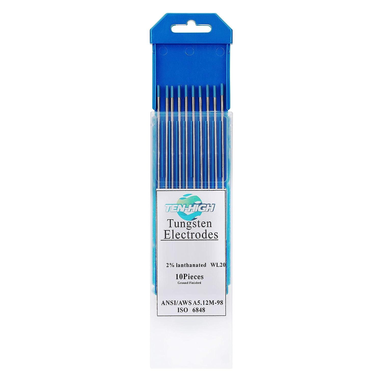 Blau TEN-HIGH WIG Wolfram Elektrode WL-20 2,4 x 175 mm 10x Wolframnadeln f/ür WIG Schwei/ßen