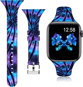 AMSKY Silicone Sports Bands Compatible with Apple Watch Bands 38mm 40mm 42mm 44mm Women Men Floral Thin Slim Narrow Band Strap Wristbands for iWatch SE Series 3 Series 5 Series 6 Series 4 Series 2