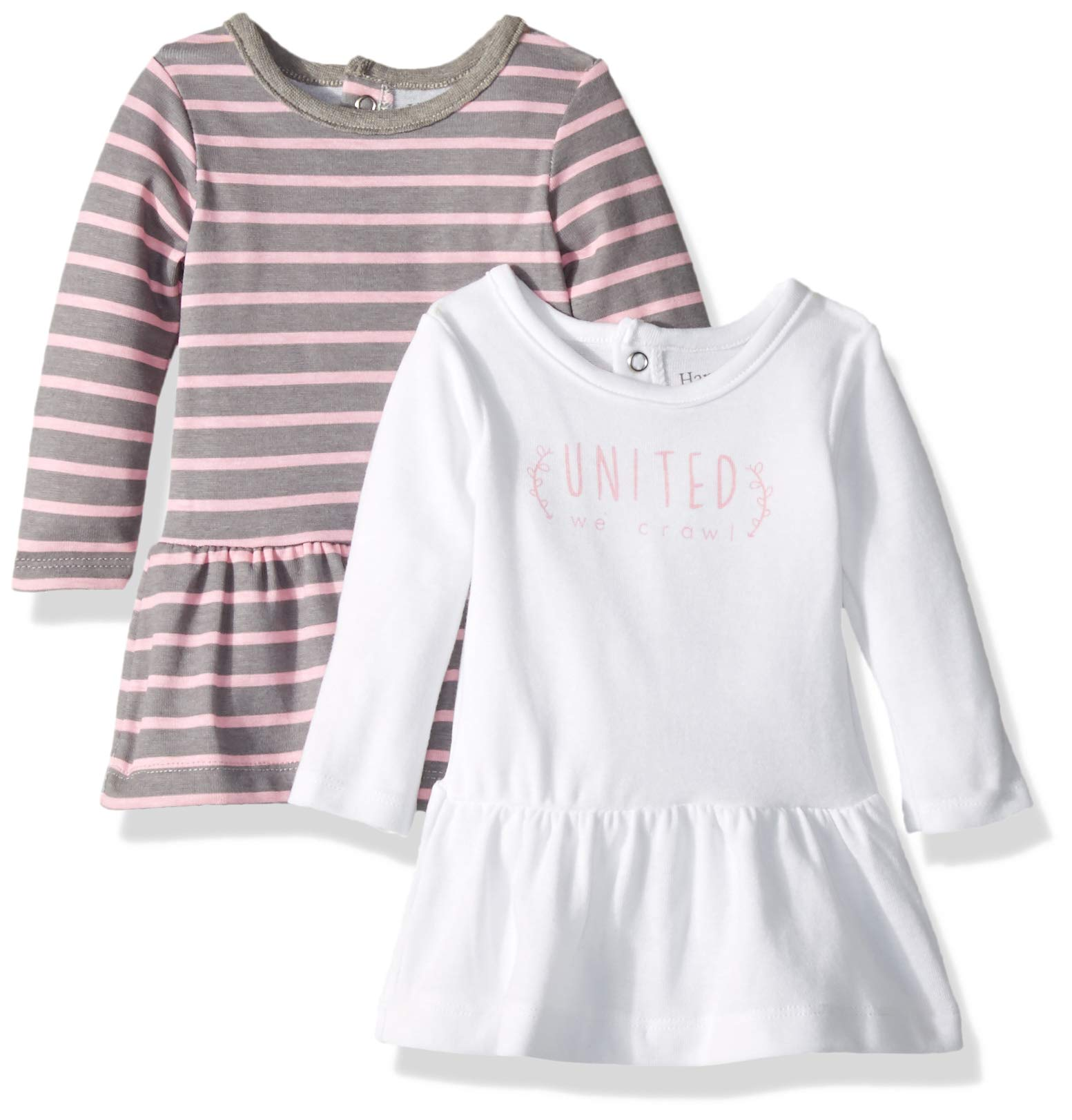 Hanes Ultimate Baby Flexy 2 Pack Knit Long Sleeve Dresses, Steel/Pink Stripe, 18-24 Months by Hanes