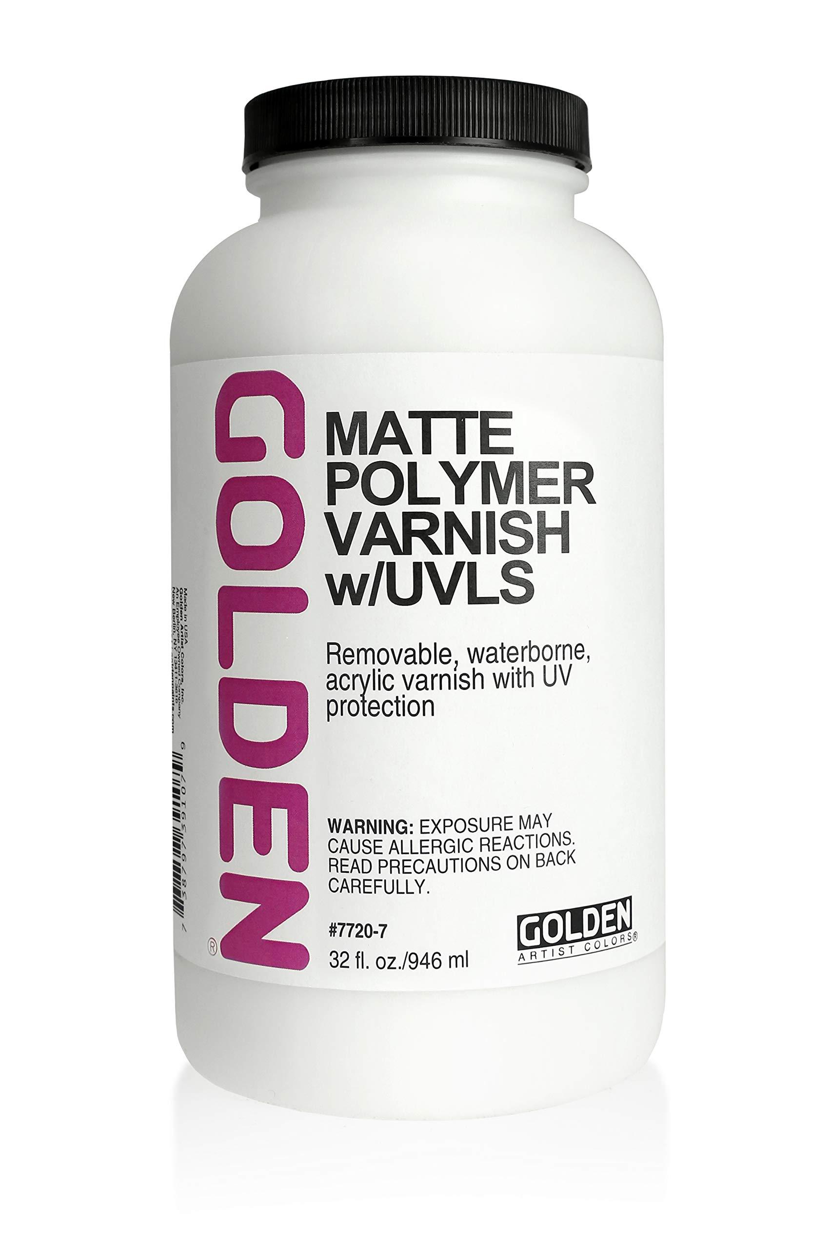 Golden Polymer Matte Varnish with UVLS - 32 oz Bottle by Golden Artist Colors