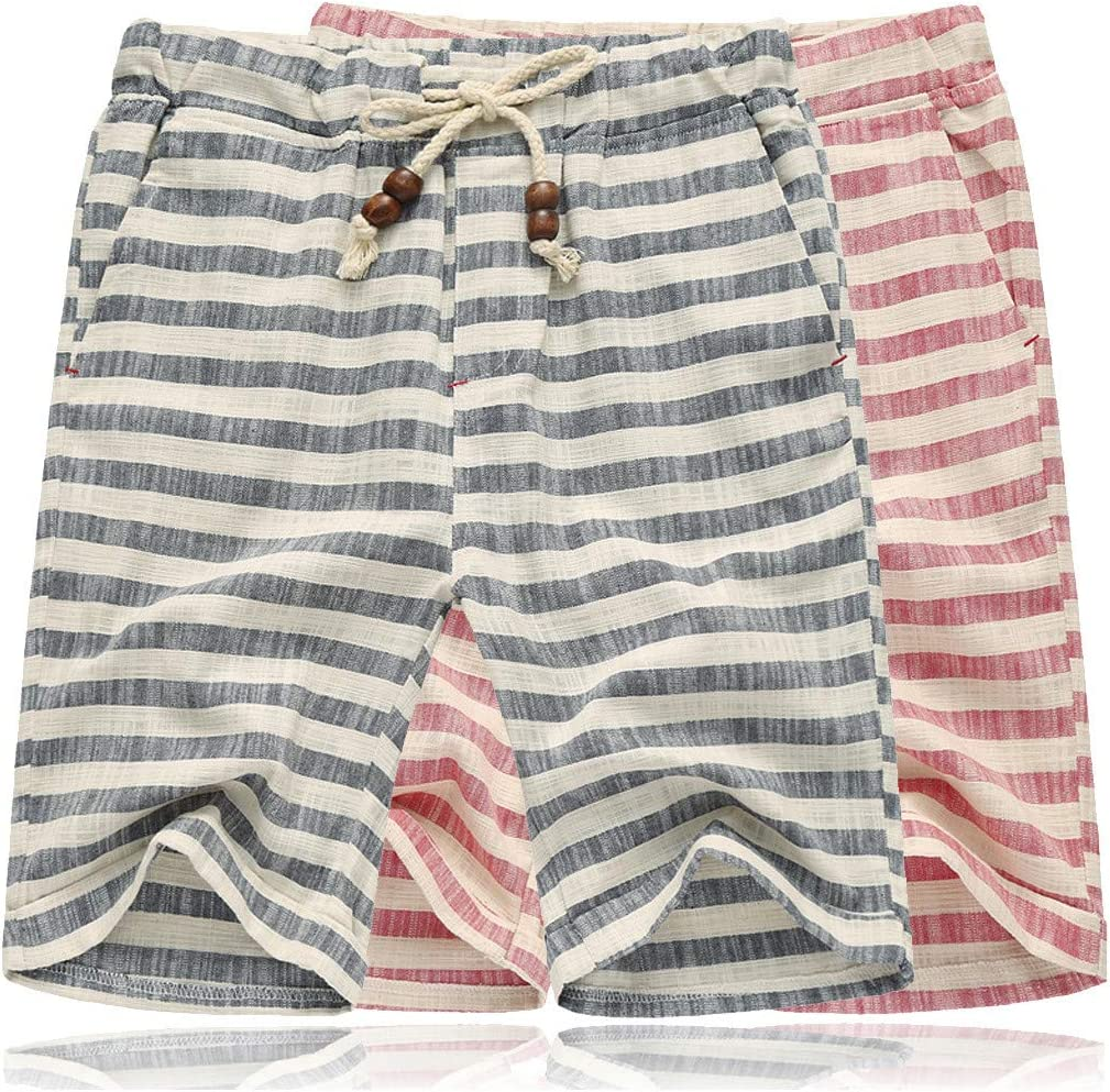 Stripe Print Quick Dry Beach Short Pant QIUUE Casual Short Pants XXXL, Red