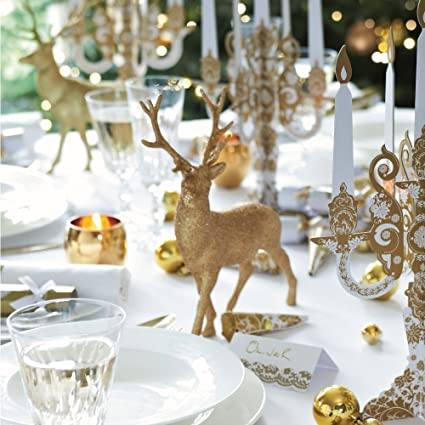 White /& Silver Glitter Reindeer Glass Decorations Xmas Christmas Table