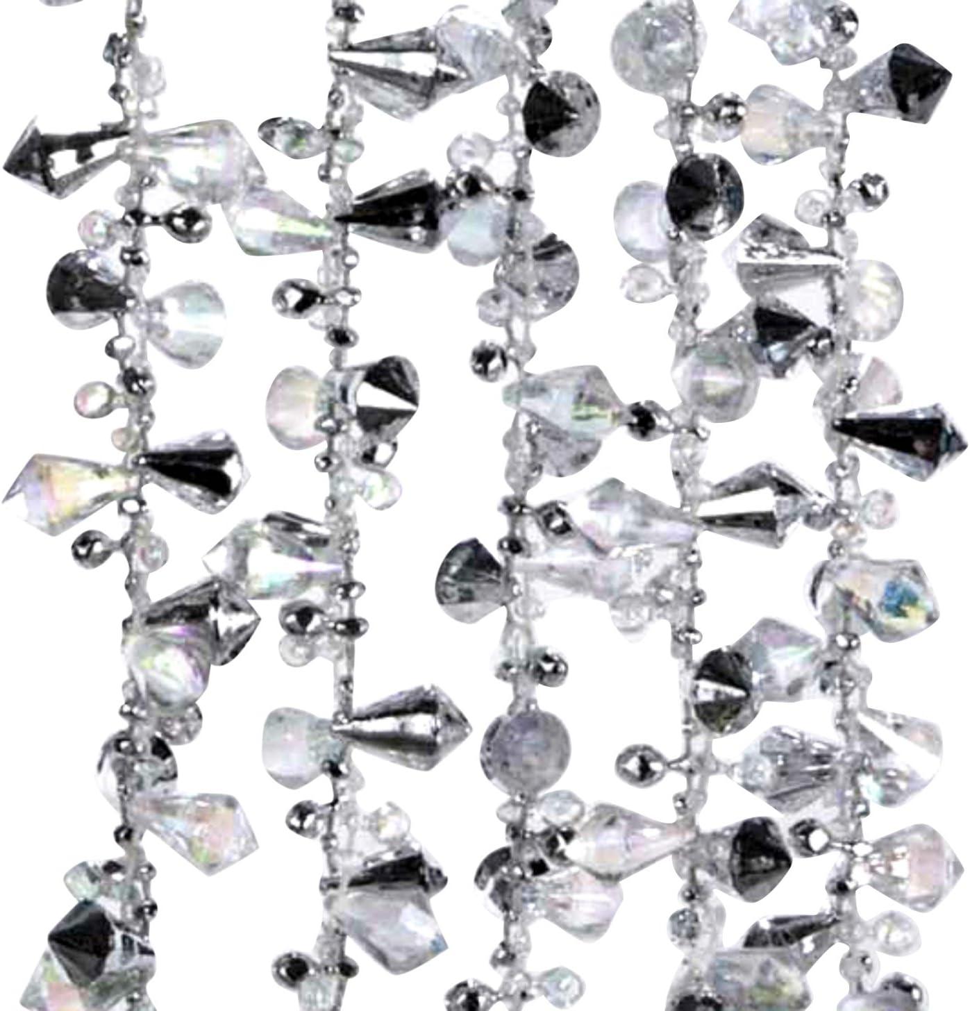 Kurt Adler Iridescent Silver Large Twinkle Ice Double Twist Bead Garland