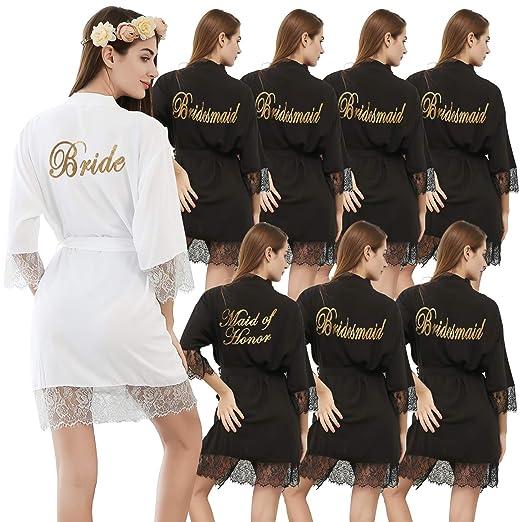 PROGULOVER Bridesmaid Robes Set of 8 Women s Cotton Kimono Bride Robe Maid  of Honor for Wedding 50a539d54