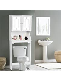 Giantex Bathroom Over The Toilet Space Saver With Shelf And 2 Door Mirrored