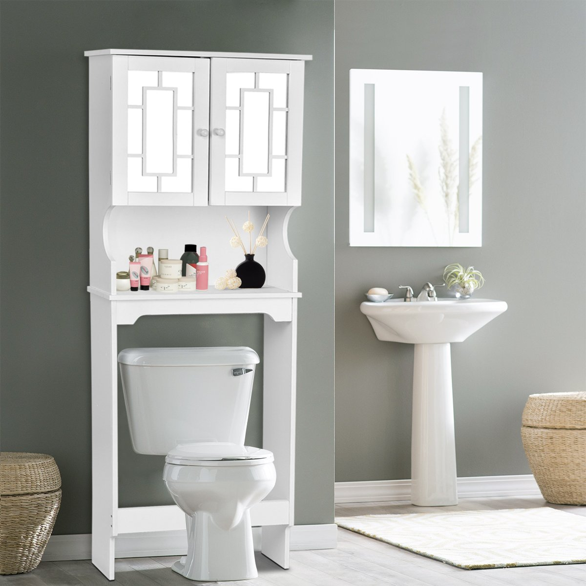 Giantex Bathroom Over-the-Toilet Space Saver with Shelf and 2-Door Mirrored Cabinet, White BA7243