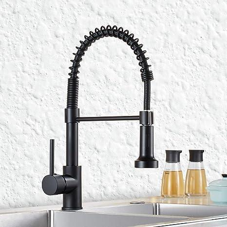 QD Wasserhahn Küche Schwarz Mischbatterien fuer Kueche Gastro Armatur  Einhandmischer für Küchen Spüle