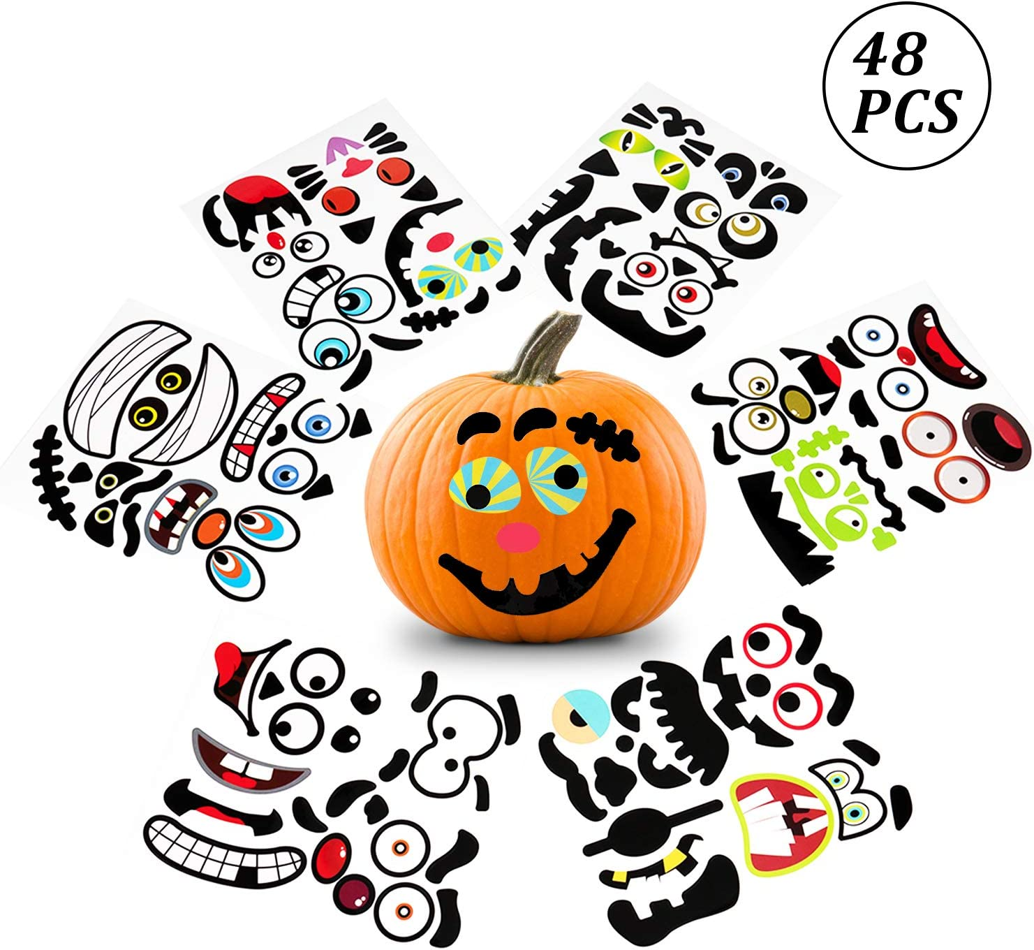 Cute Pumpkin Decorating Stickers for Halloween Party Favors 48Ct DIY Jack O Lantern Stickers Pumpkin Decorating Kits for Kids CDLong Halloween Stickers for Pumpkins