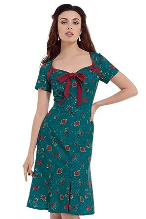 31eb934061 VOODOO VIXEN Cherry Teal Dipped Hem Midi Dress  Amazon.co.uk  Clothing