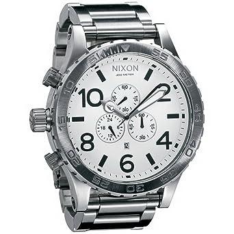 Inoxydable Homme Quartz Montre Acier Chronographe Nixon 1100 Argent A083 Bracelet OPZw80NnkX